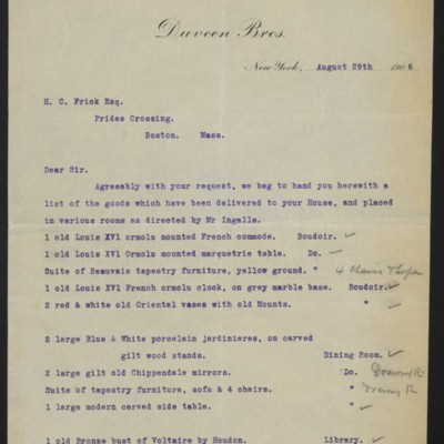 Letter from Duveen Brothers to Henry Clay Frick, 29 August 1906