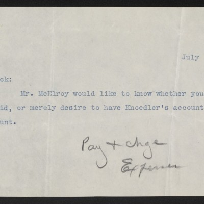Note from S.H.C. [Sue H. Canfield] to Henry Clay Frick, 1 July 1903