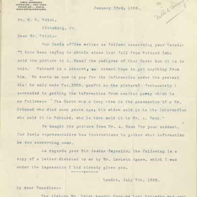 Letter from Roland F. Knoedler to Henry Clay Frick, 23 January 1899