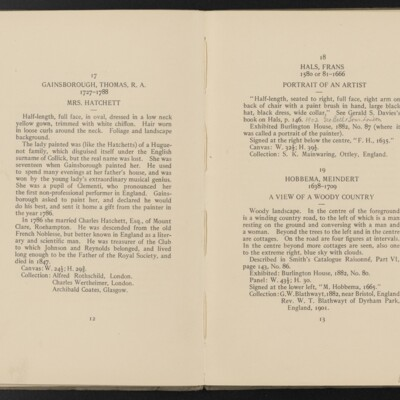 Catalogue of the Henry C. Frick Collection of Paintings, 1908 [pages 12-13]