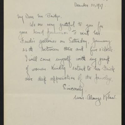 Letter from Mrs. Alonzo Klaw to [J.H.] Bridge, 31 December 1917