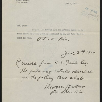 Letter from H.C. Frick to [Minerva] Stone, 2 June 1916