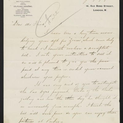 Letter from Charles S. Carstairs to Henry Clay Frick, 13 July 1909 [page 1 of 2]
