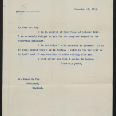 Letter from [Henry Clay Frick] to Roger Fry, 13 November 1911
