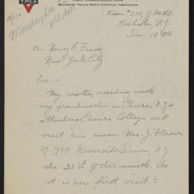 Letter from Arthur Fitch Campbell to Henry C. Frick, 19 December 1918 [page 1 of 6]