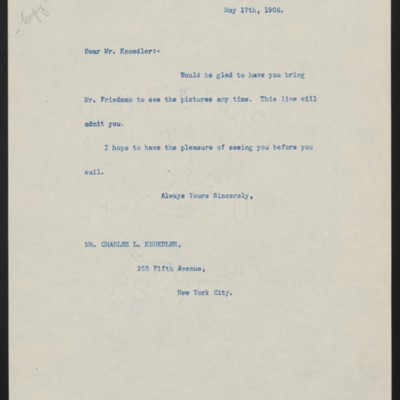 Letter from Henry Clay Frick to Charles L. Knoedler, 17 May 1906