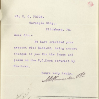 Letter from M. Knoedler & Co. to Henry Clay Frick, 13 November 1899