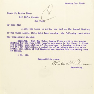 Letter from the Union League Club (New York, N.Y.), Office of the Secretary, to Henry Clay Frick, 10 January 1908