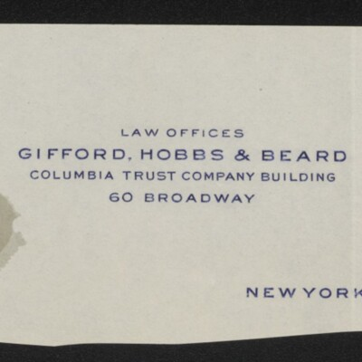 Fragment of stationery from the law offices of Gifford, Hobbs & Beard, 6 March 1918