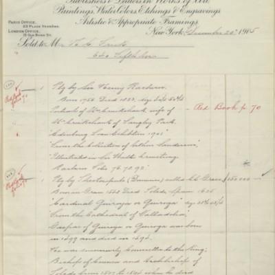 M. Knoedler & Co. Invoice, 20 December 1905