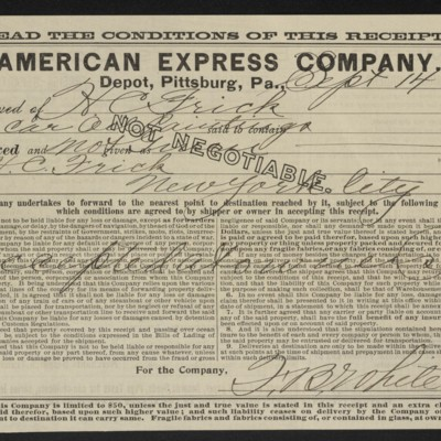 Receipt from American Express Co. to Henry Clay Frick, 14 September 1905