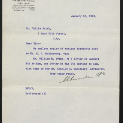 Letter from M. Knoedler & Co. to Childs Frick, 10 January 1920