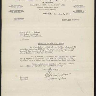 Letter from G.T. Scherzinger to Estate of Henry Clay Frick, 2 September 1920