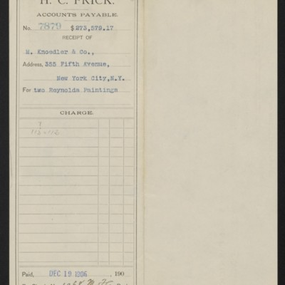 Voucher to M. Knoedler & Co. for two Reynolds paintings, 19 December 1906 [front]