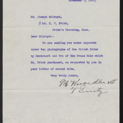 Letter from M. Knoedler & Co. to Henry Clay Frick, 7 November 1910