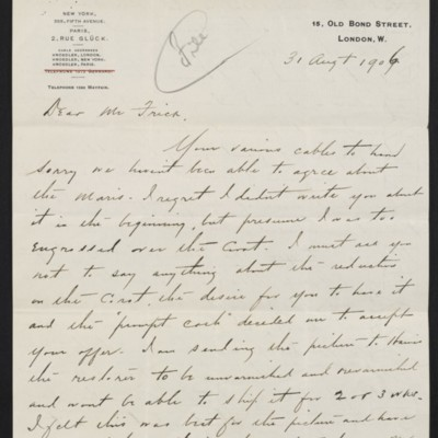Letter from Charles S. Carstairs to [Henry Clay] Frick, 31 August 1906 [page 1 of 4]