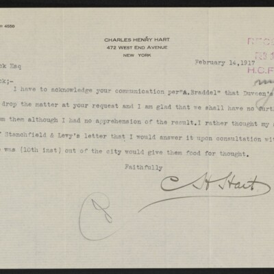 Letter from Charles Henry Hart to Henry C. Frick, 14 February 1917
