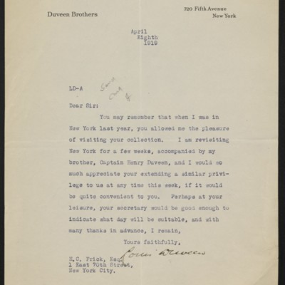 Letter from Louis Duveen to H.C. Frick, 8 April 1919