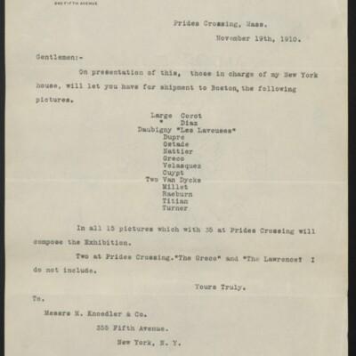 Letter from H.C. Frick to M. Koedler & Co., 19 November 1910