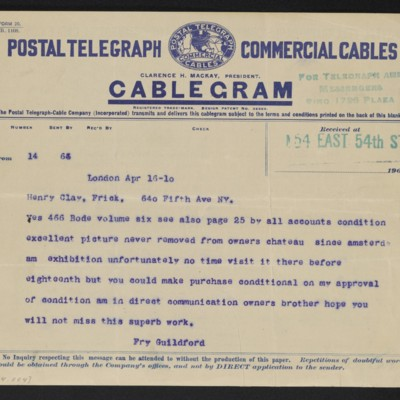 Cable from [Roger E.] Fry to Henry Clay Frick, 16 April 1910
