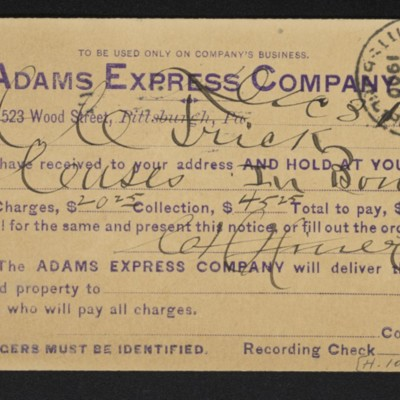 Postcard from Adams Express Company to Henry Clay Frick, 31 December 1900 [front]