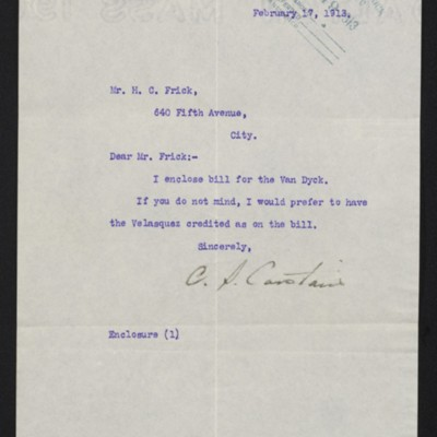Letter from Charles S. Carstairs to Henry Clay Frick, 17 February 1913