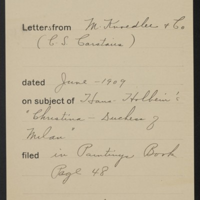 Memorandum, Office of Henry Clay Frick, June 1909
