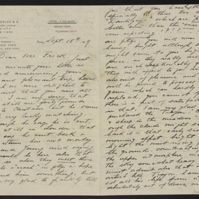 Letter from Charles L. Knoedler to Henry Clay Frick, 15 September 1899