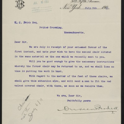 Letter from Duveen Brothers to Henry Clay Frick, 5 July 1911