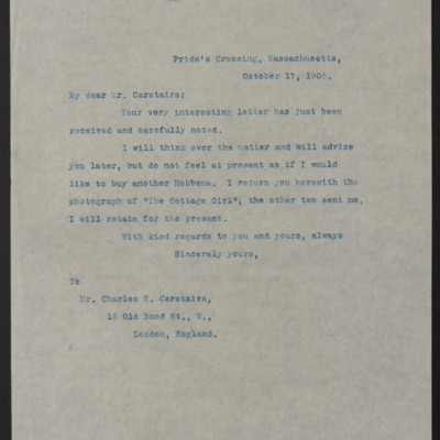 Letter from Henry Clay Frick to Charles S. Carstairs, 17 October 1908