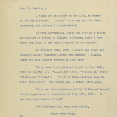 Letter from F.W. McElroy to T. Gerrity of M. Knoedler & Co., 13 May 1911