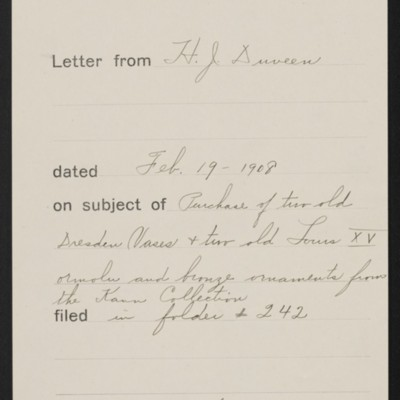 Memorandum, Office of Henry Clay Frick, 19 February 1908