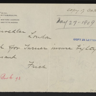 Copy of cable from [Henry Clay] Frick to M. Knoedler & Co., 27 May 1909