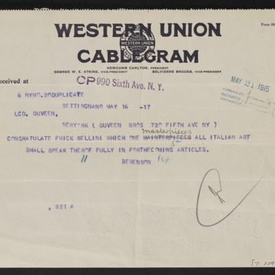 Cable from [Bernard] Berenson to Duveen Brothers, 16 May 1915