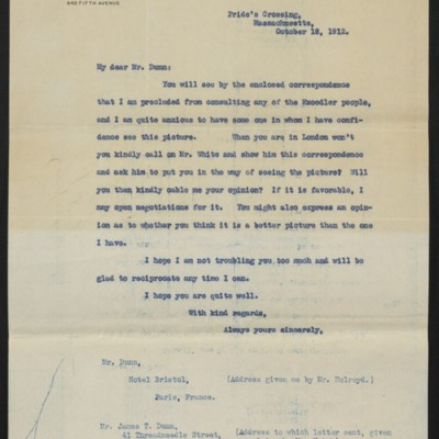 Letter from H.C. Frick to James H. Dunn, 18 October 1912 [front]