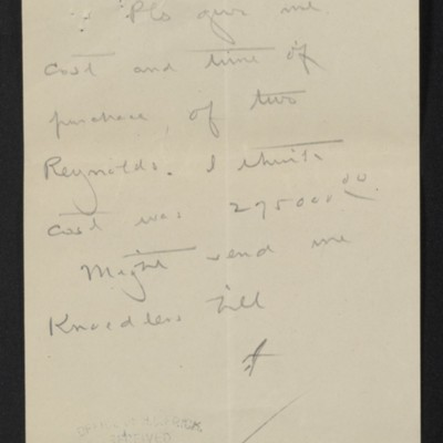 Note from [Henry Clay Frick] to F.W. [McElroy], circa 2 August 1909