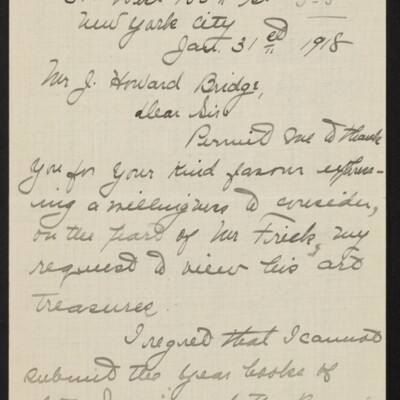 Letter from Jane Fitz Turner to J. Howard Bridge, 31 January 1918 [page 1 of 15]