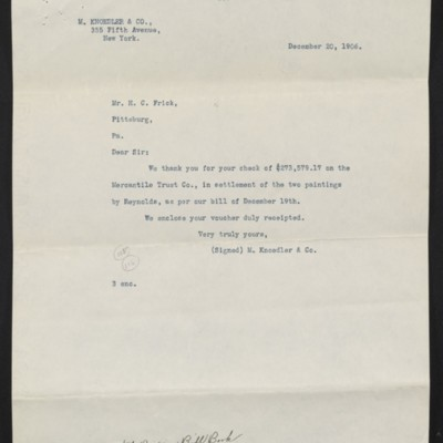 Copy of a letter from M. Knoedler & Co. to Henry Clay Frick, 20 December 1906