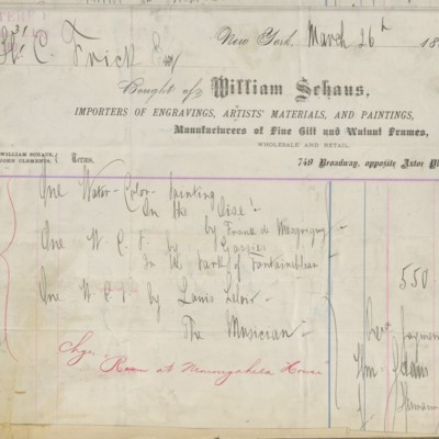William Schaus Invoice, 26 March 1881