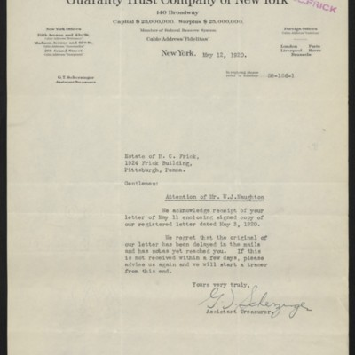 Letter from G.T. Scherzinger to the Estate of Henry Clay Frick, 12 May 1920