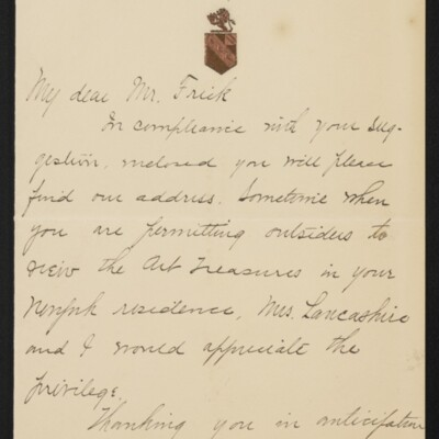 Letter from J.H. Lancashire to H.C. Frick, 15 January 1918 [page 1 of 2]