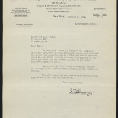 Letter from G.T. Scherzinger to Estate of Henry Clay Frick, 3 January 1921