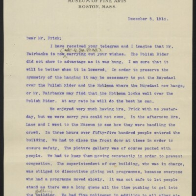 Letter from Gardiner M. Lane to H.C. Frick, 5 December 1910 [page 1 of 2]