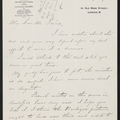 Letter from Charles S. Carstairs to Henry Clay Frick, 23 August 1912