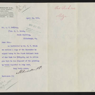 Letter from M. Knoedler & Co. to A.P. McElroy [F.W. McElroy], 26 April 1911