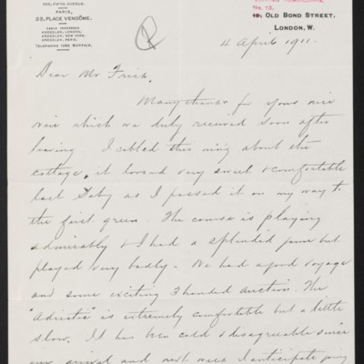 Letter from Charles S. Carstairs to Henry Clay Frick, 4 April 1911