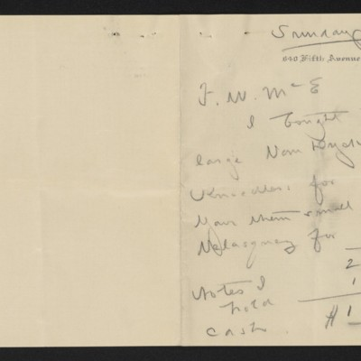 Letter from [Henry Clay Frick] to F.W. McElroy, circa 19 February 1913 [page 1 of 2]