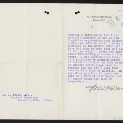 Letter from James Dunn to H.C. Frick, 13 November 1912 [page 3 of 3]