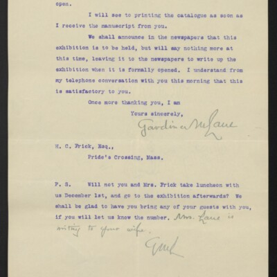 Letter from Gardiner M. Lane to H.C. Frick, 21 November 1910 [page 2 of 2]