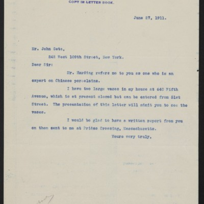 Letter from [Henry Clay Frick] to John Getz, 27 June 1911